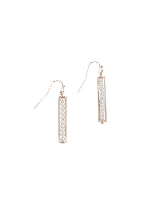 Pearl Ladder Gold Earrings