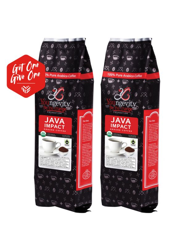 Be The Change Coffee - Java Impact Fair Trade Organic Coffee w/Mushrooms - Ground (12oz) [QTY: 2   Get One, Give One FREE]